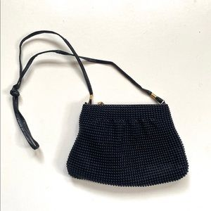 Vintage 1960s Black Beaded Small Evening Bag